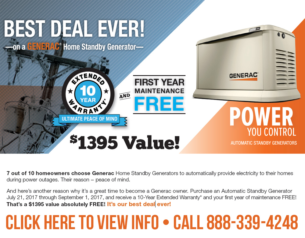 Best Deal Ever On a GENERAC Home Standby Generator!
