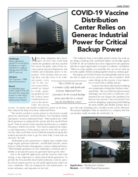 South Shore Generators - Covid-19 Distribution Centers Relies on Generac